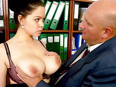 Big-breasted secretary fucks her disgusting boss