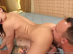Sara Luvv Cuckolds Her Husband and Makes him Suck Cock