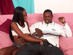 chocolate girl adores to down from her coal-black lover's hard penis on the couch