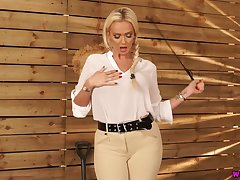 Jaw dropping busty deity with whip Lucy Zara wants to punish bad boy
