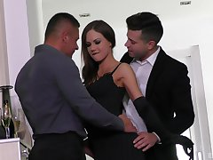 two luring and horny guys enjoy a great think the world of wih Tina Kay in a threesome