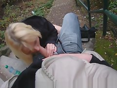 Cocksucking euro gets jizzed on her chest POV