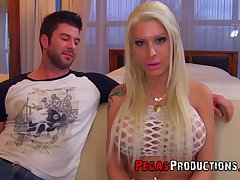 Professional hooker Lexxxy Belle gets a mouthful be expeditious for sperm after hardcore pussy pounding