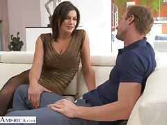 Buxom alluring sexpot with rounded boodle Becky Bandini is poked from behind