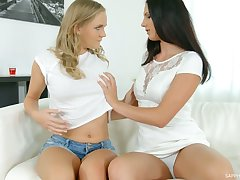 Pretty horny Czech lesbian Jenny Diamond loves creature daily fingerfuck