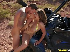 His slutty girlfriend bends over in the desert for dick