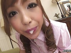 Anri Hoshizaki has got a perfect mouth for sucking and she's always simmering
