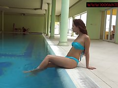 Morose eyed and red haired Russian mermaid Mia Ferrari in her underwater show
