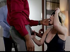 Blind folded blonde Summer Fixture gives a blowjob to black BF's friend
