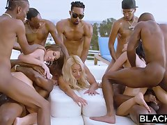 Teanna Trump, Adriana Chechik together beside Vicki Pursue are orgying during a vacation, beside dark-hued men