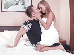 Sexy svelte Russian girl Katarina Muti passionately blows dick not far from 69 pose