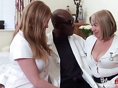 Two chubby head nurses bang one coloured man added to eat his cum greedily