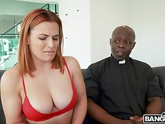 Lustful redhead with nice boobies rides strong cock of blacklist officiant