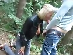Deutsch blonde sucking and fucking a grand pecker give the woods