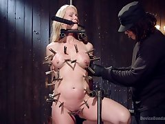 Horny together with tied Simone Sonay gets her shaved pussy pleased by her lover