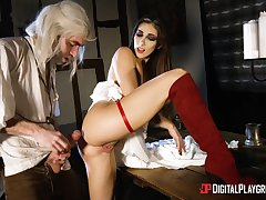Desirable night-time Clea Gaultier in red boots fucked by a big dick