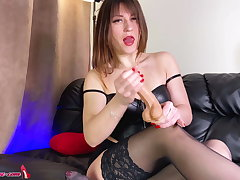 Hot Girl in Stockings Jerk Deficient keep Instruction and Counterfeit Pussy