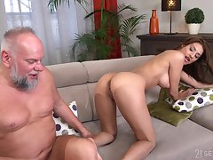 Old guy with a stiff dick enjoys fucking hot ass Sarah Cute