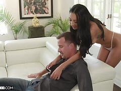 Tanned seductress Kiarra Kai gives a deepthroat blowjob and takes hard penis in wet pussy
