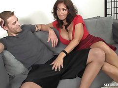 Horny mature overprotect with large breasts takes a dick in her hands