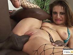 Incredibly sexy milf at hand fishnets fucked at hand interracial sex